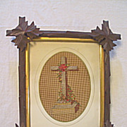 Antique Victorian Punch Paper Sampler of a Religious Cross with Needlepoint and Beads Circa 1890's