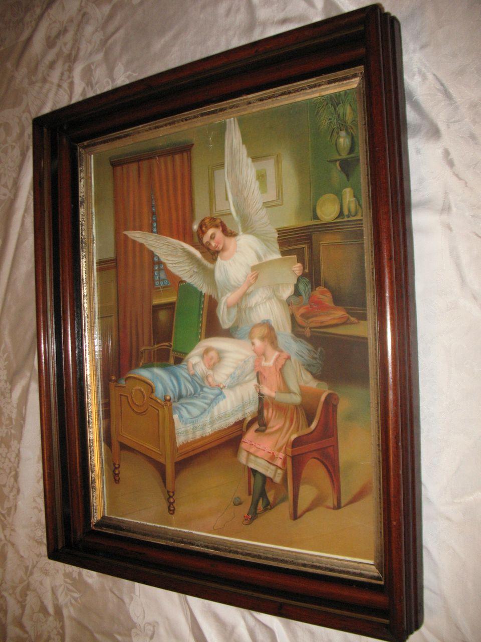 Large Antique Victorian Guardian Angel Chromolithograph
