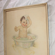 Vintage Baby Print Titled Smiling Through Charlotte Becker Circa 1920's Large Size