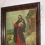 Vintage Religious Chromolithograph The Good Shepherd Jesus Circa 1920's