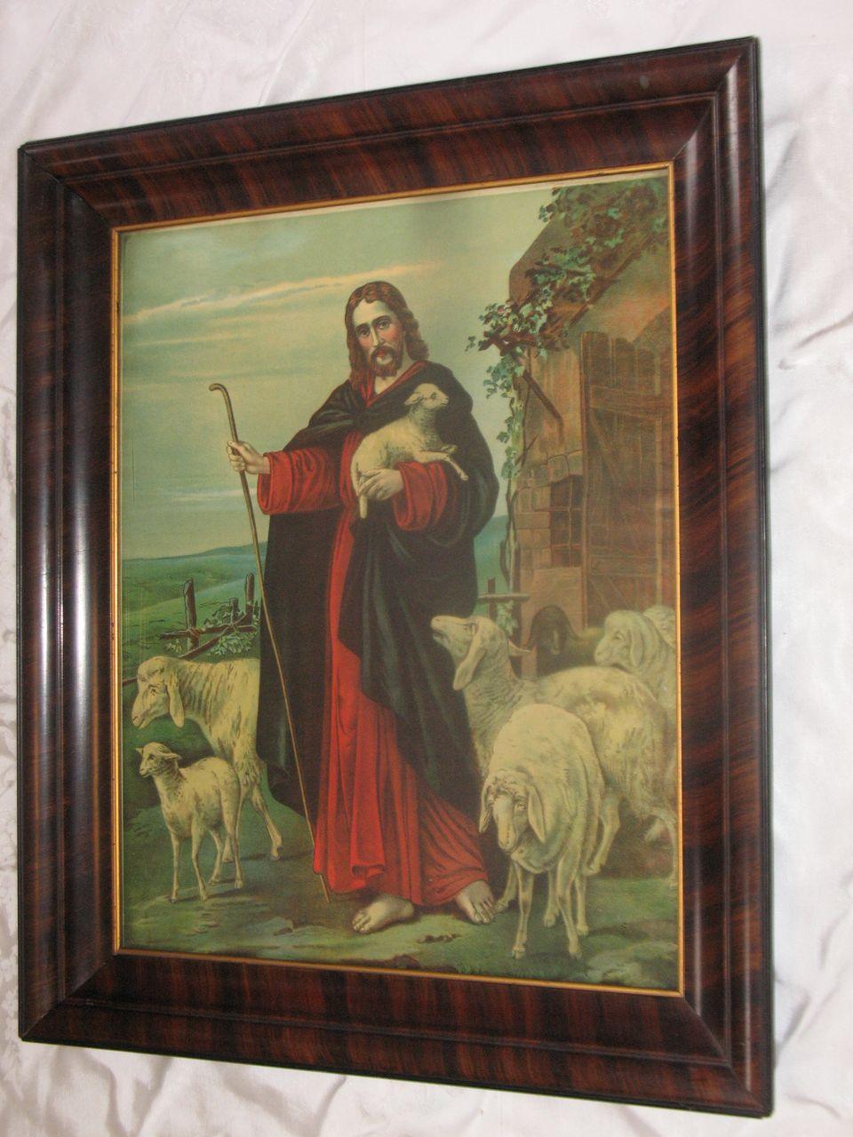 Vintage Religious Chromolithograph The Good Shepherd Jesus