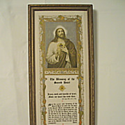 Vintage The Blessing of the Sacred Heart Jesus Motto Prayer  Print Circa 1920's