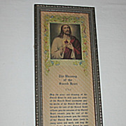 Vintage Special The Blessing of the Sacred Heart  with Print of Jesus Circa 1920's