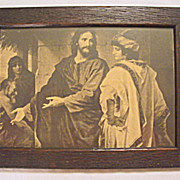 Sepia-Tone  Religious Print, Jesus with Rich Man and  Poor Man
