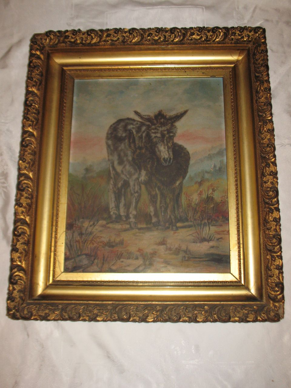 Antique Oil Painting Burros Donkeys SouthWest Landscape Desert Circa Late 1800's