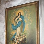 The Immaculate Conception Print  Circa 1920's Artist Morillo