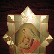Vintage Madonna and Child Jesus Print with Unique Satin Ribbon Frame Circa 1920's