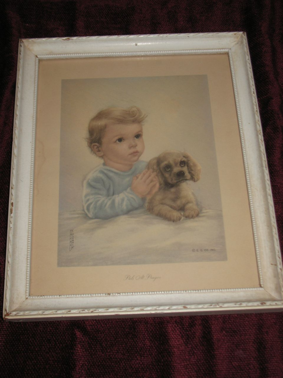 Pals At Prayer Print Little Boy And His Dog Praying Circa
