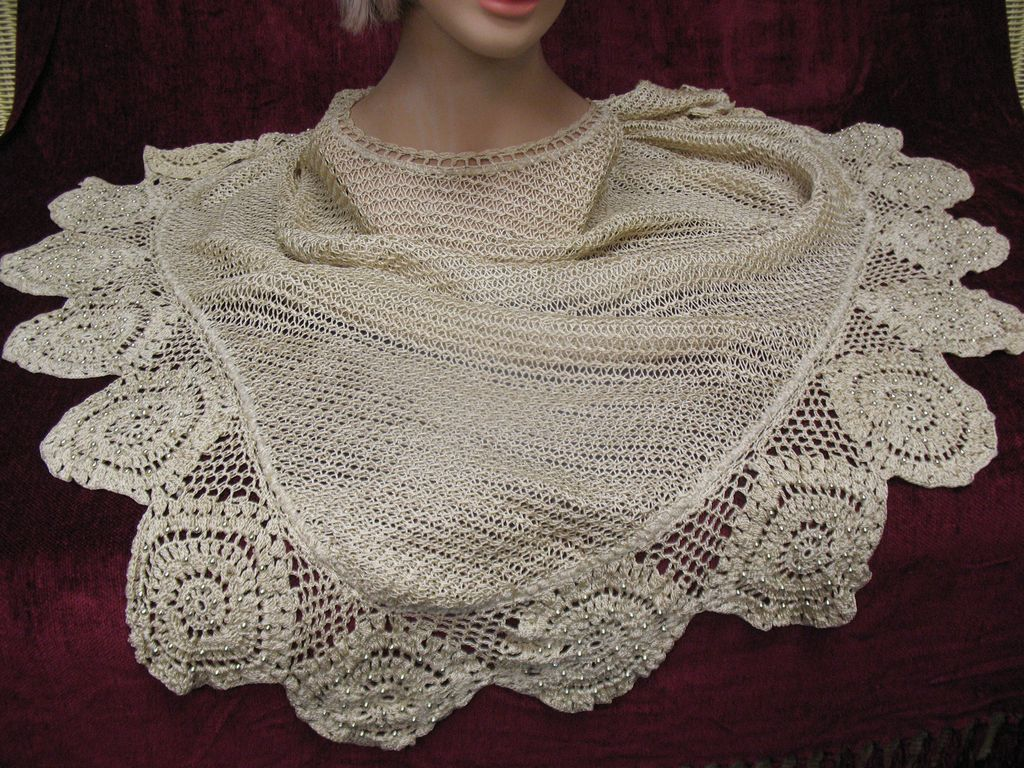 Vintage Ladies Crocheted Poncho with Beads Circa 1940's