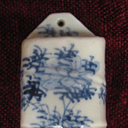 Antique Porcelain Oriental Hanging Match Holder Circa 1900