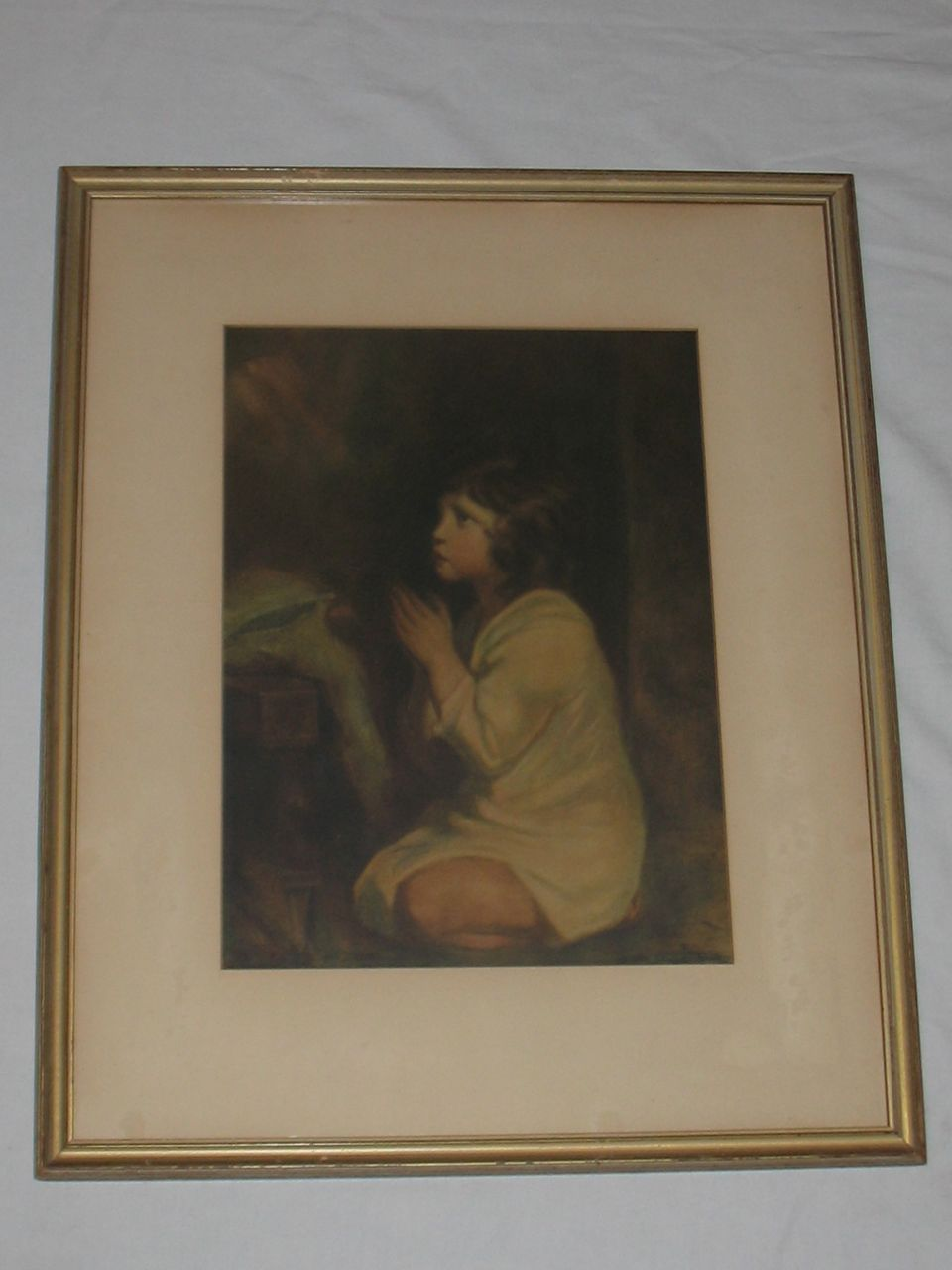Vintage Little Girl Praying Print Circa 1920's
