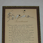 Vintage Sweetheart Small Romantic Motto Print with Hand Coloring of Birds and Floral Design Circa 1920's