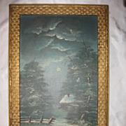 Antique Winter Scene Moonlit Night Oil Painting on Canvas Circa 1890's