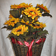 Vintage Shapely Wicker Basket with Original Gold Finish Circa 1920's