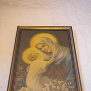 Vintage Mary And Infant Jesus Print  Circa 1933