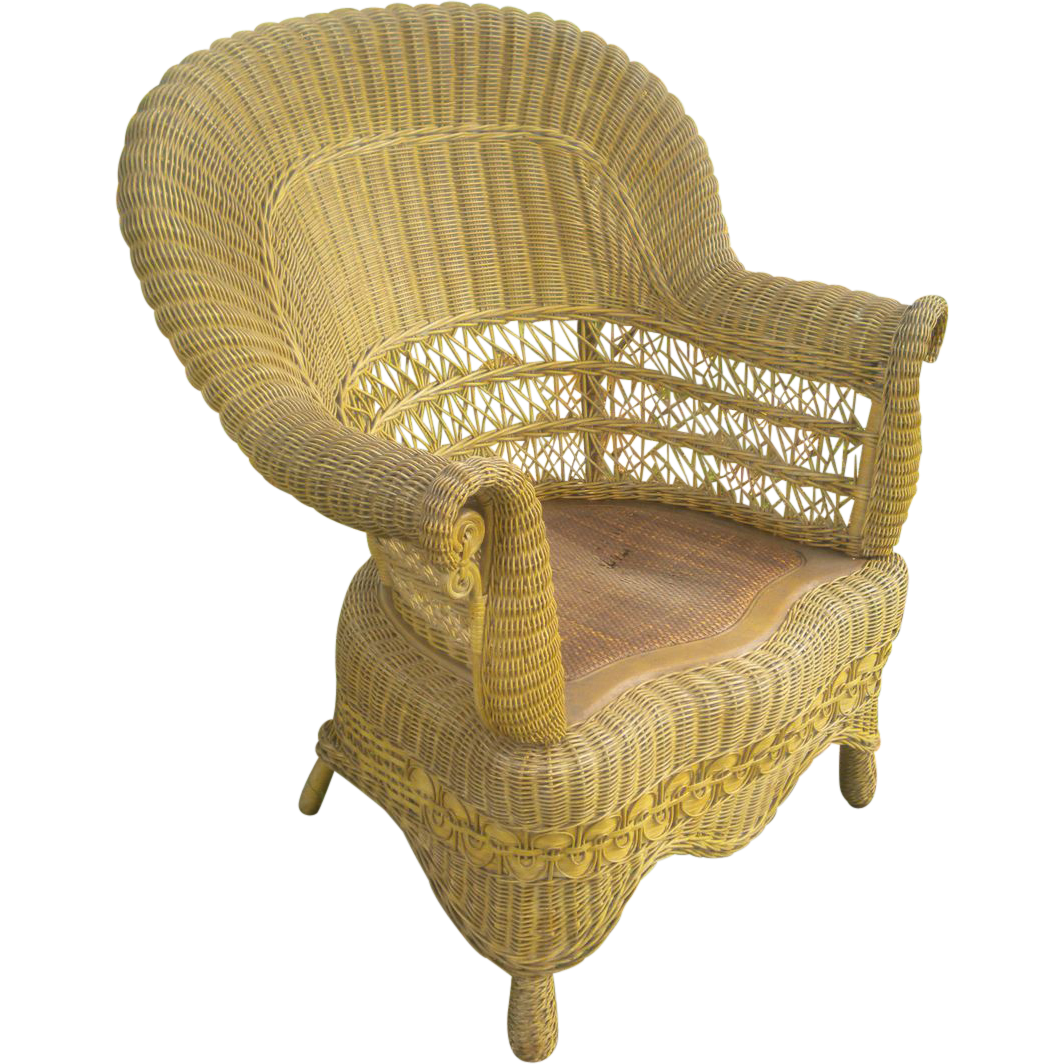 Antique victorian chairs - Rare Natural Antique Victorian Wicker Arm Chair Circa 1890 S