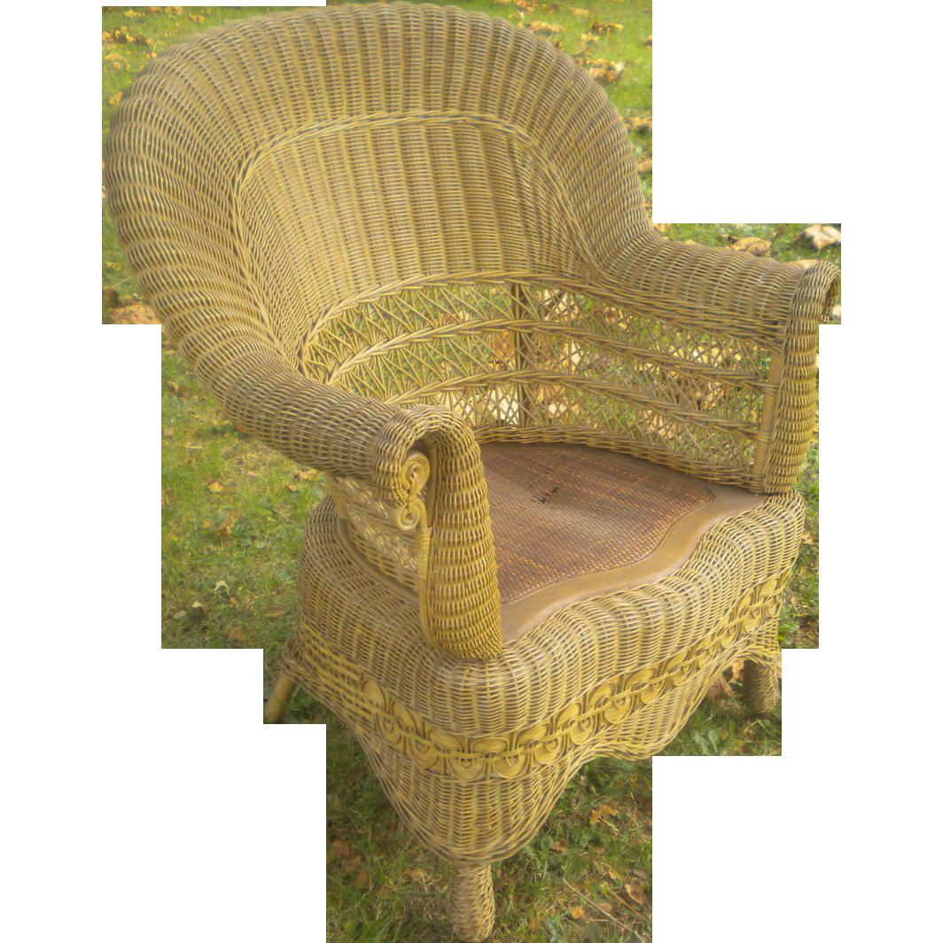 Rare Natural Antique Victorian Wicker Arm Chair Circa 1890 39 S From Dovetai
