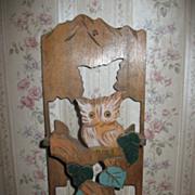 Vintage Unique Wooden Owl Letter Holder Original Colors Circa 1920's