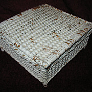 Vintage Wicker Sewing Basket or Trinket Box Circa 1920's