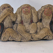 Vintage Japanese Bankoware Three Monkeys Speak Hear See No Evil