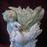 Antique Art Nouveau Bisque Vase with Figurine Circa 1900