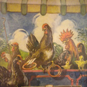 Vintage Comical Print Chickens, Roosters, Chicks, Playing Game Circa 1920's