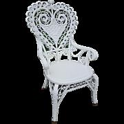 Ornate Antique Victorian Wicker Heart Back Arm Chair Circa 1880's