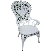 Ornate Antique Victorian Wicker Heart Back Arm Chair Circa 1880's