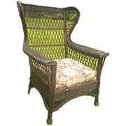 Vintage Large Natural Bar Harbor Wicker Gentleman's Wing Chair Circa 1920's
