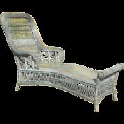 Rare Antique Victorian Wicker Chaise Lounge Circa 1890's