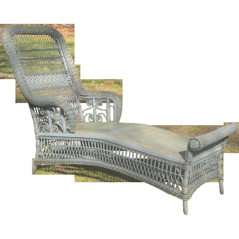 Rare Antique Victorian Wicker Chaise Lounge Circa 1890 S