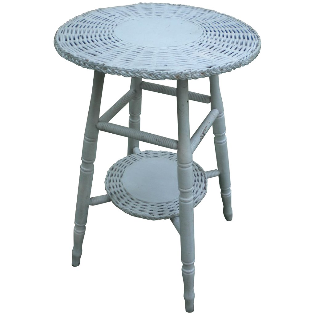 vintage small round bar harbor wicker table circa 1920 39 s. Black Bedroom Furniture Sets. Home Design Ideas