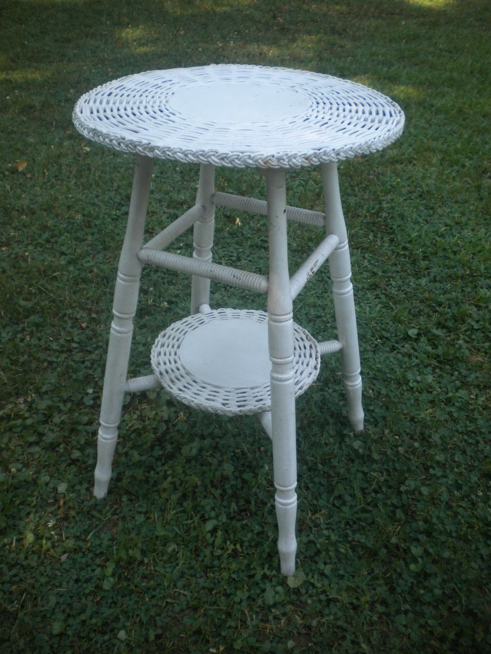 Vintage Small Round Bar Harbor Wicker Table Circa 1920 S