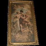 Romantic Antique Art Nouveau Print Circa 1900