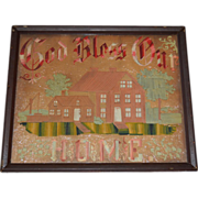 Antique God Bless Our Home Punch Paper Motto Hand Stitched Circa 1890's