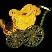 Natural Antique Wicker Baby Stroller Carriage Circa 1890's