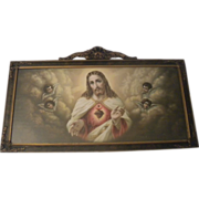 Vintage Sacred Heart of Jesus Print with Angels Circa 1920's
