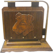 Terrier Airedale Schnauzer Dogs Desk Accessory Large Wood and Metal File Holder With Dogs Circa 1920's