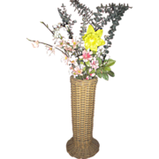 Antique Wicker Tall Vase with Original Metal Liner Circa 1900