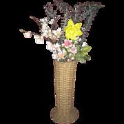 Antique Wicker Tall Vase with Original Metal Liner Circa 1900