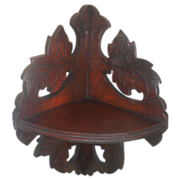 Antique Walnut Victorian Leaf Carved Hanging Corner Shelf Circa 1890's