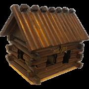 Vintage 1950's  Wood Log Cabin Trinket Box