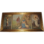Vintage Extra Large Triple Scene The Crucifixion, The Holy Family and The Resurrection