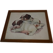 Vintage Boston Terrier Puppy Print by Grace Lopez