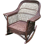 Vintage Bar Harbor Natural Wicker Arm Rocker Circa 1920's