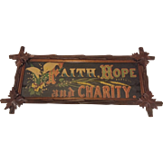 Antique Lithograph Faith Hope and Charity Circa 1890's