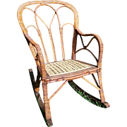 Very Rare Antique  Victorian Child's Wicker Rocker Circa 1860's