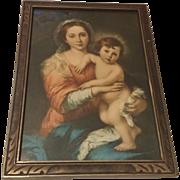 Vintage Religious Print of Mary Holding Baby Jesus Circa 1920's