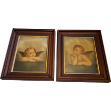 Antique Lithographs of Cherubs Angels by Raphael in Walnut Frames  Circa 1890's