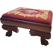 Antique Mahogany Carved Footstool with Needlepoint  Circa 1890's Foot Stool Ottoman
